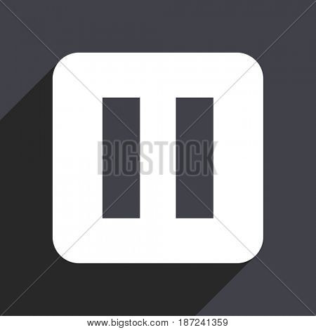 Pause flat design web icon isolated on gray background