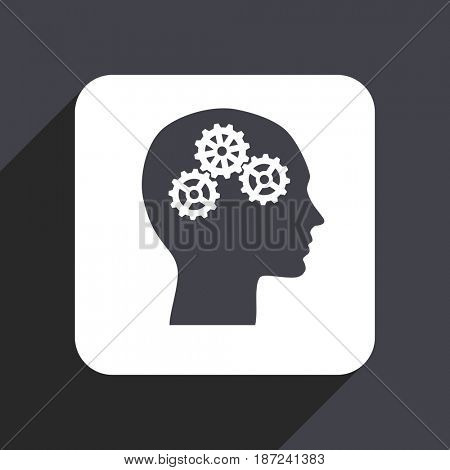 Head flat design web icon isolated on gray background