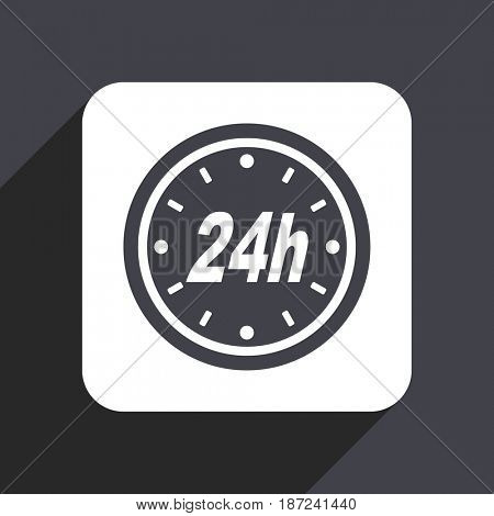 24h flat design web icon isolated on gray background