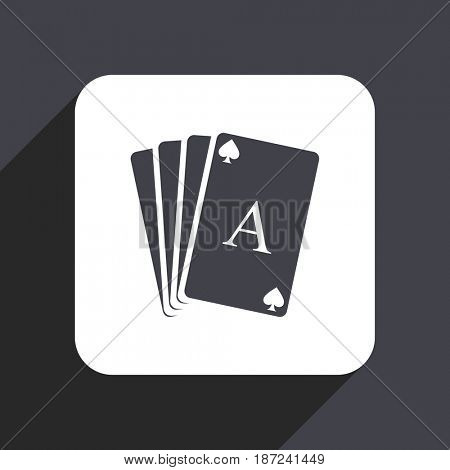 Card flat design web icon isolated on gray background