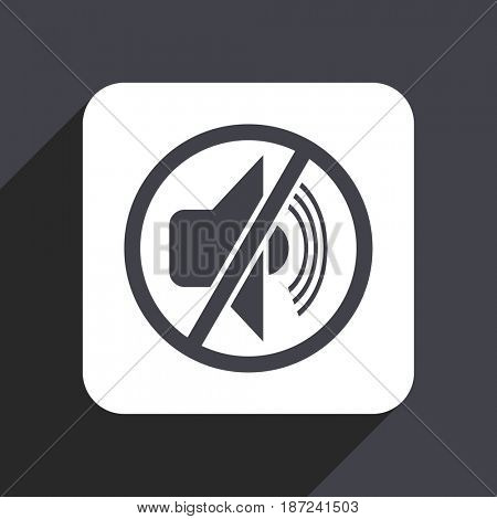 Mute flat design web icon isolated on gray background