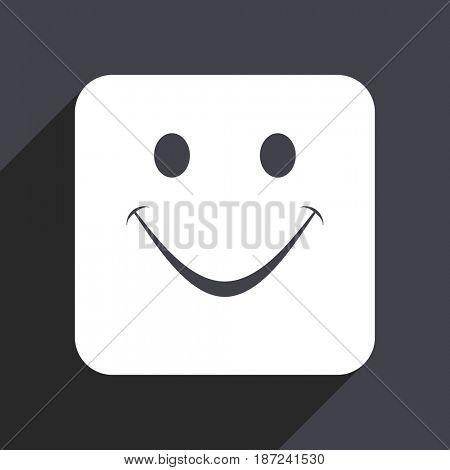 Smile flat design web icon isolated on gray background
