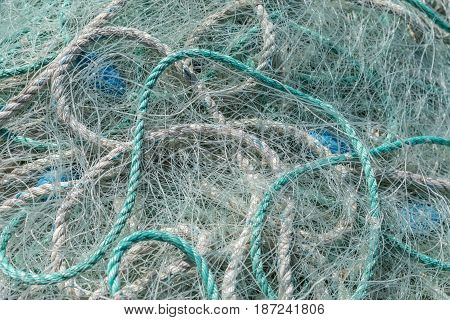 background of lines and green ropes for fishing