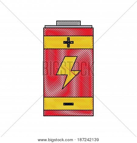 drawing battery energy power charger electric vector illustration