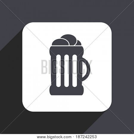 Beer flat design web icon isolated on gray background