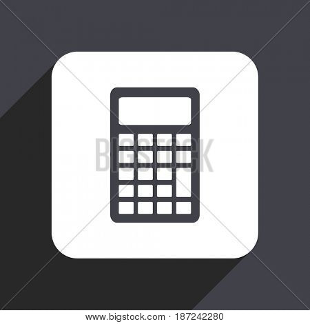Calculator flat design web icon isolated on gray background