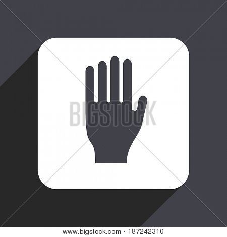 Stop flat design web icon isolated on gray background