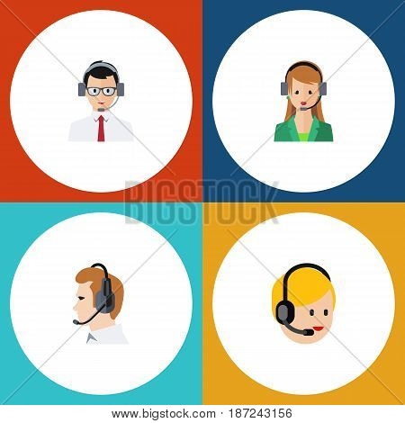 Flat Center Set Of Call Center, Help, Telemarketing And Other Vector Objects. Also Includes Help, Operator, Service Elements.