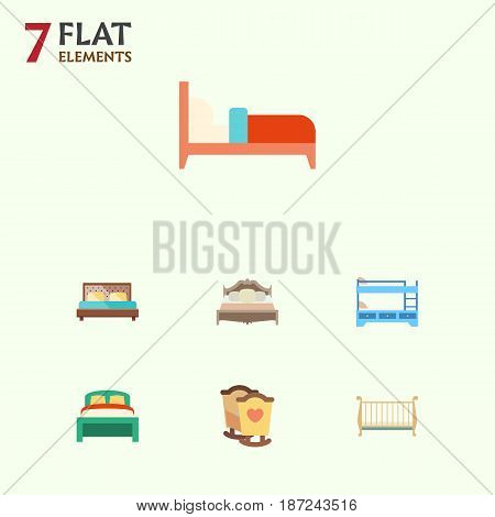 Flat Bed Set Of Bedroom, Crib, Cot And Other Vector Objects. Also Includes Bunk, Furniture, Bedroom Elements.