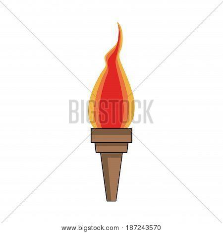 cartoon medieval torch flame light vector illustration