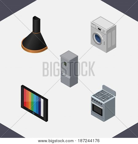 Isometric Technology Set Of Laundry, Television, Stove And Other Vector Objects. Also Includes Fridge, Kitchen, Hood Elements.
