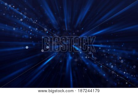 Background starry sky with shining stars and rays