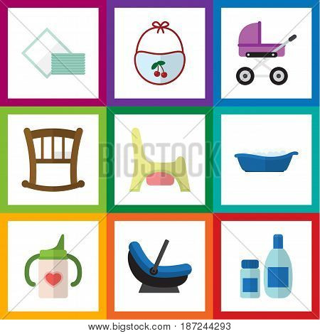 Flat Child Set Of Bathtub, Toilet, Pinafore And Other Vector Objects. Also Includes Infant, Bathing, Bib Elements.