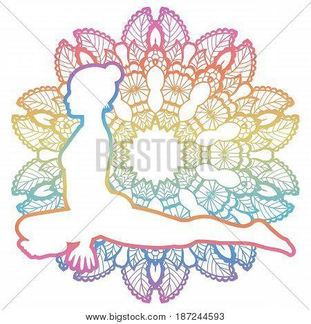 Mandala round background. Pigeon Yoga Pose. Kapotasana Vector illustration