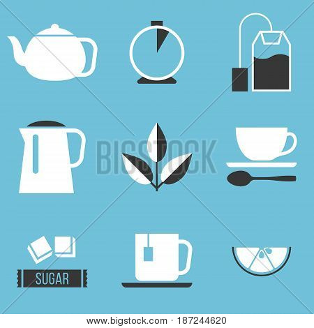 tea preparation icon, silhouette in black and white design vector