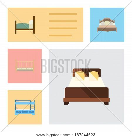Flat Bed Set Of Cot, Bed, Mattress And Other Vector Objects. Also Includes Cot, Bed, Bedroom Elements.