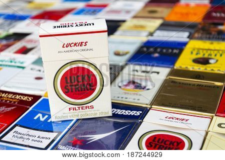 Prague, Czech Republic - March 25: Lucky Strike Pack On Many Different Cigarettes Photographed On Ma