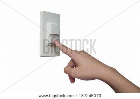 Using finger to press the home buzzer in white isolated.