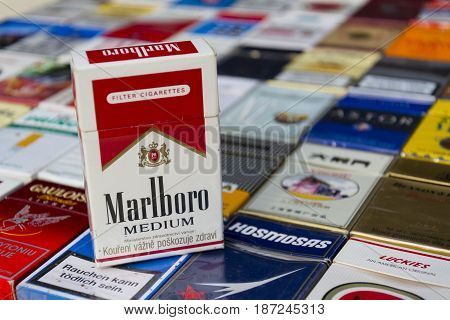 Prague, Czech Republic - March 25: Marlboro Pack On Many Different Cigarettes Photographed On March