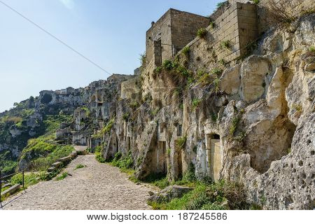 The ancient ghost town of Matera (Sassi di Matera) in beautiful sun shine with blue sky southern Italy.