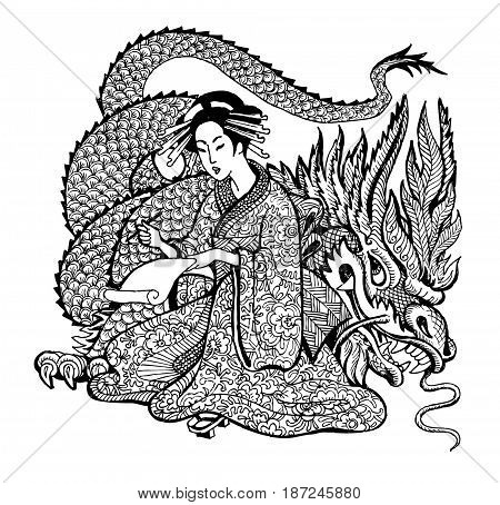 dragon graphics anti-stress art therapy illustration of the mythology of the girl with the dragon zentagl