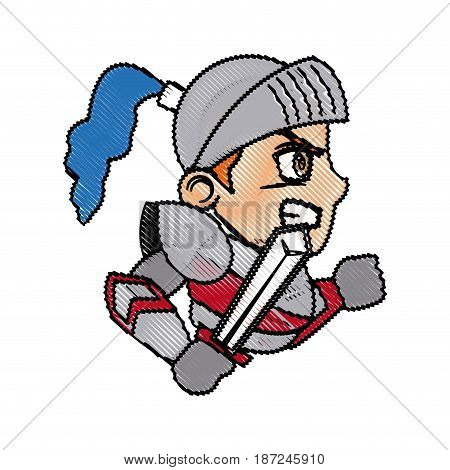 knight character with armor sword shield vector illustration