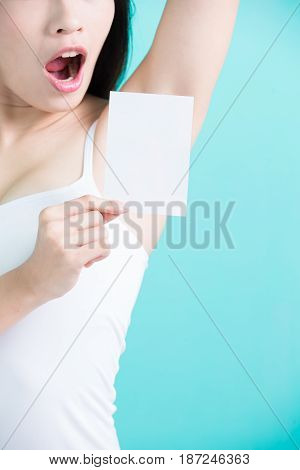 beauty woman show under armpit and take picture
