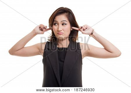 Young Asian Woman Block Both Ears With Fingers.