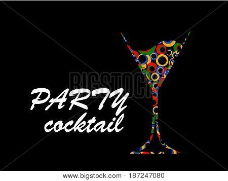 Design for cocktail party.Wine list.Vector set of bottles for alcohol.Glasses for alcoholic drinks.Bottle background.