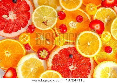 Fresh Trendy Seamless Pattern Sliced Mixed Citrus Fruits Like Background With Different Berries, Con