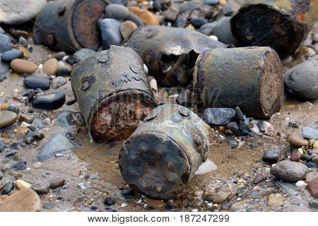 Old world war two munitions and ordnance appearing on UK east coast beach 70 years after disposal.