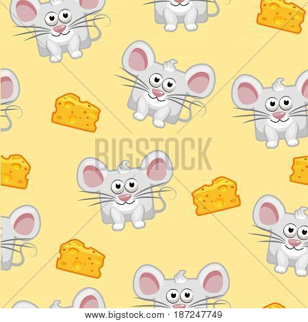 Seamless pattern Cute cartoon square grey mouse and cheese. Set vector animals