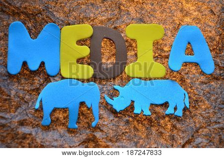 word bmedia on a  abstract colorful  background