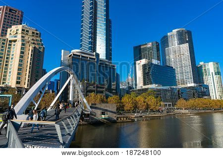 Southbank Pedestrian Bridge With People And Southbank Cityscape