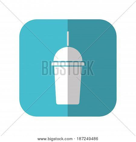 coffee cup icon over blue square and white background. vector illustration