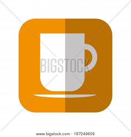 coffee mug icon over orange square and white background. vector illustration
