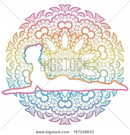 Mandala round background.Sphinx yoga Pose. Salamba Bhujangasana. Vector illustration