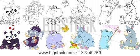 Cartoon animals set. Collection of mammals. Panda bears in love mammoth (elephant) hippo (hippopotamus behemoth) butterfly rhino (rhinoceros) and daisy flower. Coloring book pages for kids.