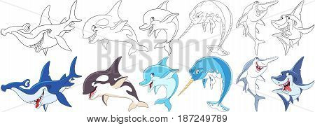 Cartoon animals set. Collection of underwater predators. Hammerhead killer whale (orca) dolphin narwhal (unicorn-fish) sawfish shark. Coloring book pages for kids.