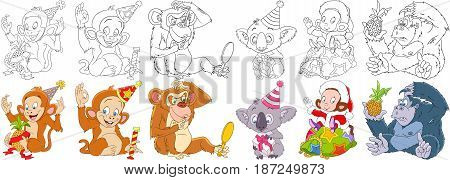 Cartoon animals set. New year collection. Monkey ape chimpanzee gorilla chimp orangutan macaque koala bear with christmas gifts. Coloring book pages for kids.