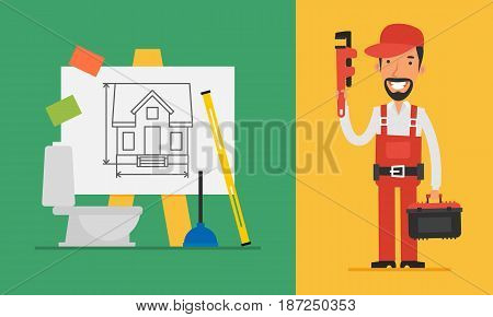 Construction Concept Plumber Holding Pipe Wrench And Tools