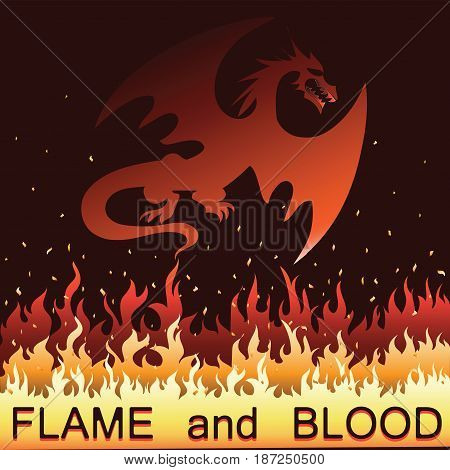 Red dragon in fire. Vector. Emblem, logo, label, sticker on a black background with an inscription Flame and blood. Eastern traditions and beliefs.