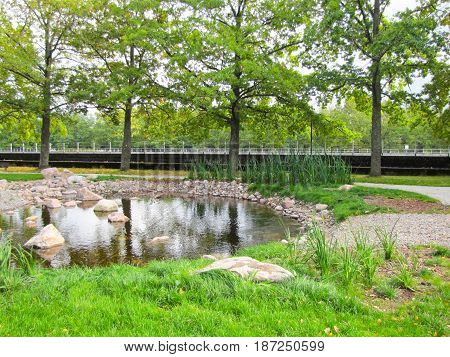 Beautiful small waterfall in a green deciduous forest