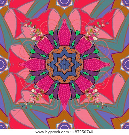 Intricate colored Arabesque with on a white background. Vector abstract stylized colored mandala.