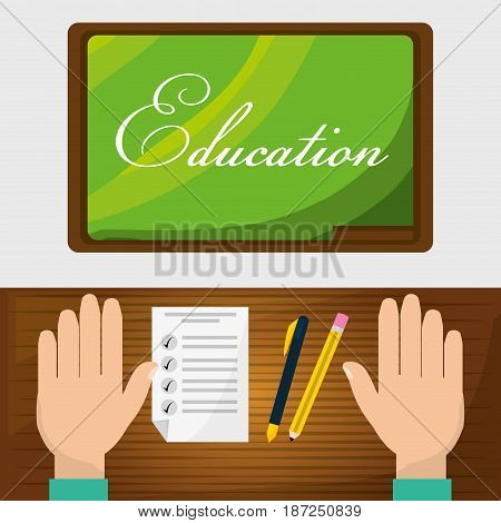class board with student doing test, vector illustration