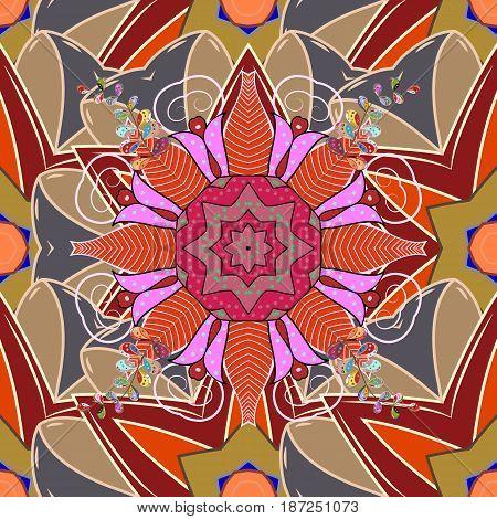Islam Arabic Indian turkish pakistan chinese ottoman motifs. Colored Mandalas on a white background. Oriental pattern. Vintage vector decorative elements.