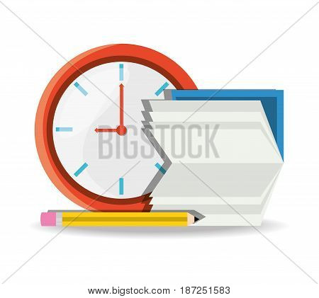 nice clock with calendar and pencil to know test days, vector illustration