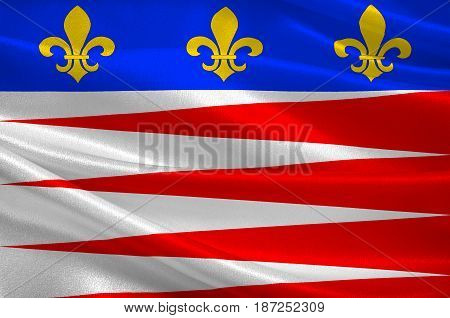 Flag of Castres is a commune and arrondissement capital in the Tarn department and Occitanie region in southern France. 3d illustration
