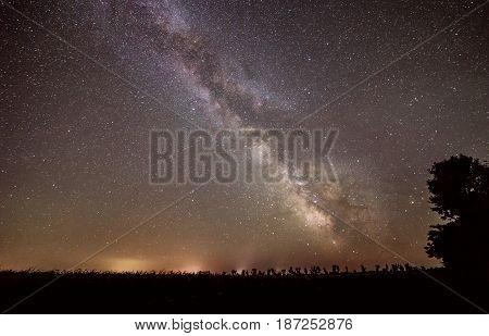 stars of Milky Way galaxy at night in Ukraine