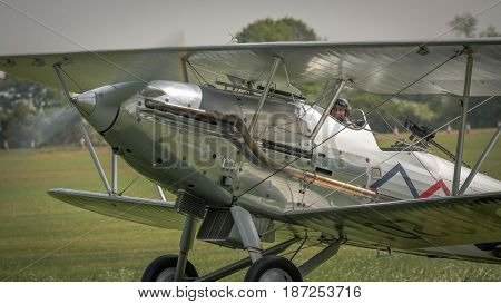 Biggleswade UK - 7th May 2017: A vintage British Hawker Demon taxies